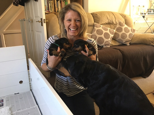 Jayne with puppies